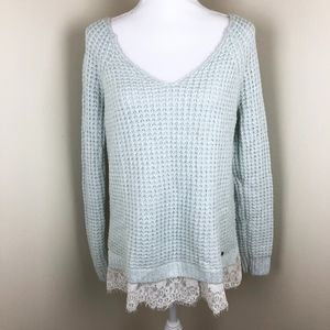 HOLLISTER Lace Trim Chunky Sweater